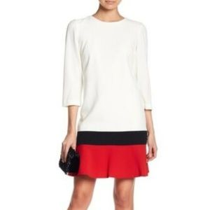 NEW! Sandra Darren Colorblock Crepe Shift Dress
